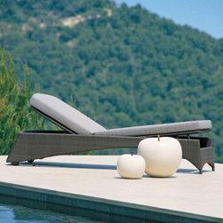 Pompano Wicker Outdoor Chaise Lounge - Pompano outdoor wicker chaise lounge has adjustable back and footrest.