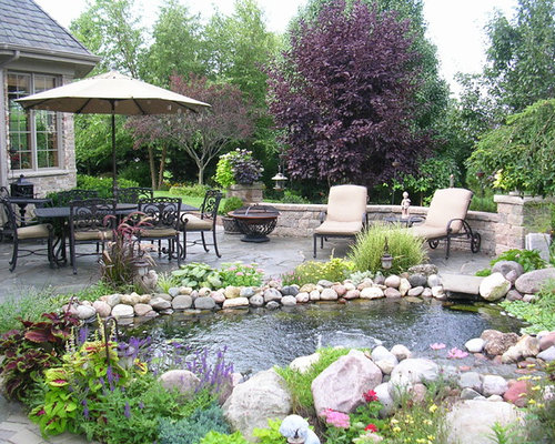 Best patio pond design ideas remodel pictures houzz for Koi pool water gardens thornton