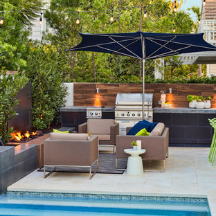 Patio   Small Contemporary Backyard Stone Patio Idea In Los Angeles With A  Fire Pit