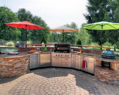 Large Trendy Backyard Concrete Paver Patio Kitchen Photo In St Louis