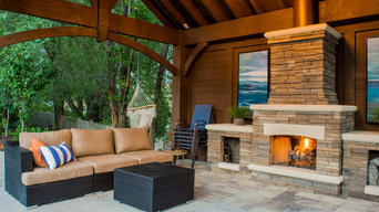 Poolside Timber Frame Pavilion w/Fireplace & Chandelier