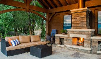 Poolside Timber Frame Pavilion w/Fireplace & Chandelier