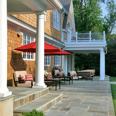 Traditional Patio Potomac, MD Brick Ranch Home to Nantucket Style