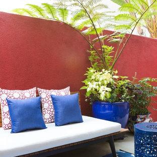 Ispirazione per un piccolo patio o portico bohémian nel cortile laterale con lastre di cemento e nessuna copertura