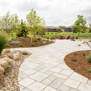 Large trendy backyard concrete paver patio photo in Other with a fire pit and no cover