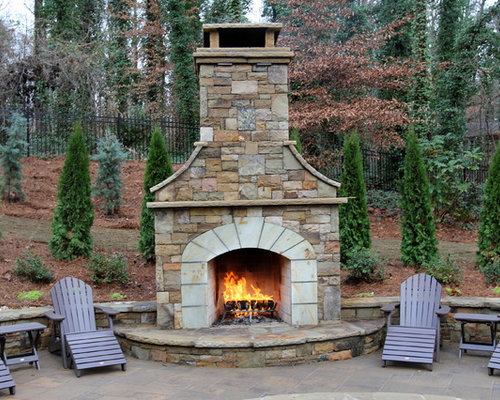 Garden Design: Garden Design With Backyard Fireplace Home Design