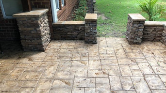 Private Outdoor Slate Stamped Patio