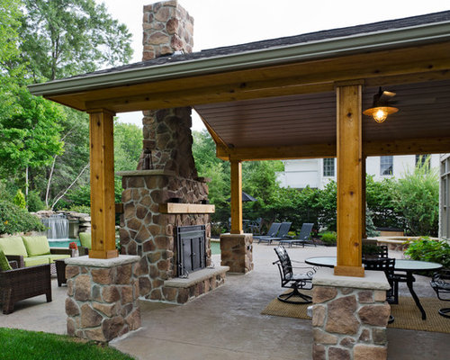 Backyard renovation pool pavilion fireplace and hot tub for Covered porch with fireplace