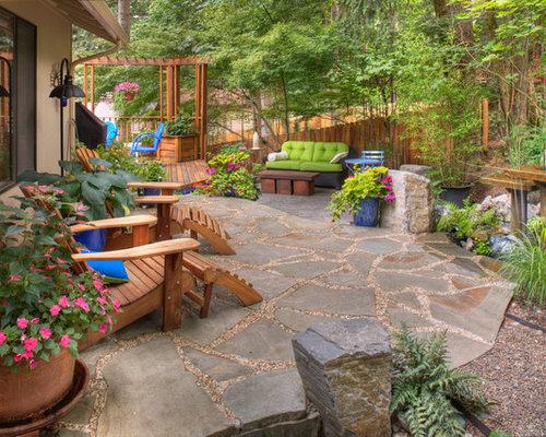 Ideas para patios   Diseños de patios rústicos con jardín de macetas