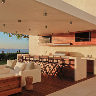 outdoor patio kitchen ideas grill patio kitchen large modern backyard patio idea in miami with decking and roof 75 most popular modern outdoor kitchen design ideas photos houzz