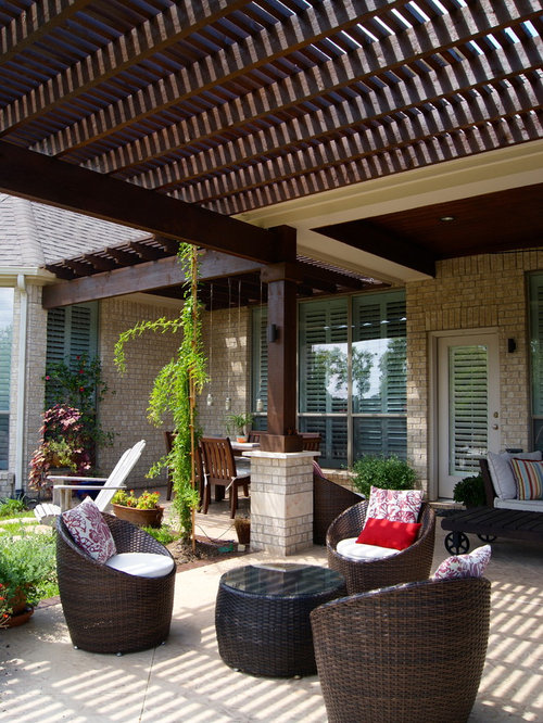Inspiration For A Transitional Backyard Patio Remodel In Houston With A  Pergola