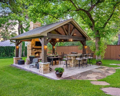 Outdoor Küche Rustikal : Gefliester rustikaler patio ideen design bilder houzz