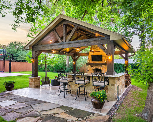 Example Of A Mid Sized Mountain Style Backyard Tile Patio Kitchen Design In  Houston With