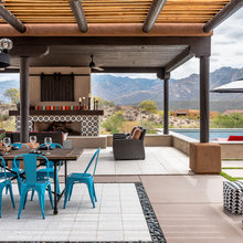 Bold Tile and Mountain Views in a Southwestern Backyard Oasis