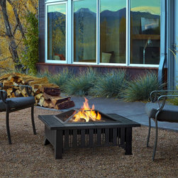 Real Flame - Real Flame Lafayette Outdoor Fire Pit - Enhance the atmosphere of your outdoor living space with this classic styling and neutral grey tile top fire pit that brings functional wood burning ambiance to your outdoor environment.