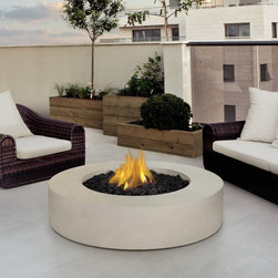 Real Flame Mezzo Round Propane Fire Table - The Real Flame Mezzo Round Propane Fire Table has a sleek and contemporary design that will accentuate your outdoor living space. Powered by 20lb LP tank, the flames will emit 60,000 BTUs for 7 to 22 hours, depending on your heat setting. This fire table comes complete with lava rock filler, and a protective cover for when the table is not in use. This product comes in Antique White and Flint Gray finishes.