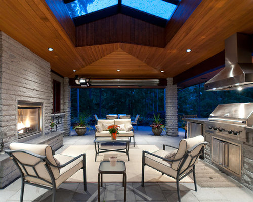 Trendy Patio Photo In Vancouver With A Fire Feature And A Roof Extension