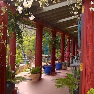 Design ideas for a mid-sized asian backyard patio in Phoenix with a water feature, concrete slab and a roof extension.