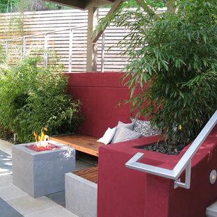 Inspiration pour une terrasse minimaliste avec un foyer extérieur.
