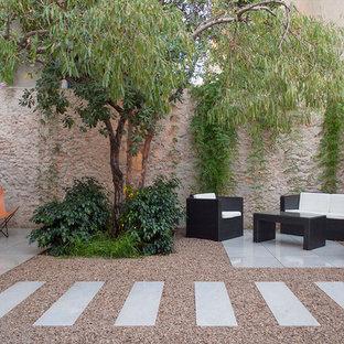 Modelo de patio contemporáneo, en patio trasero, con suelo de baldosas