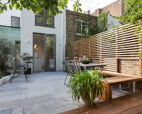 Mid Sized Trendy Backyard Concrete Paver Patio Photo In London