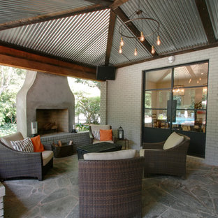 Inspiration for a contemporary patio remodel in Atlanta with a fire pit