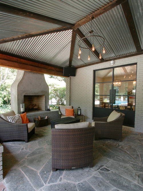 Exposed plywood ceiling patio design ideas renovations for Balcony ceiling design