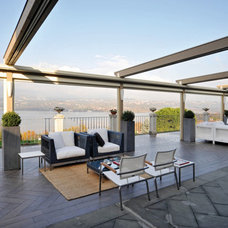 Contemporary Patio Retractable Awning over deck