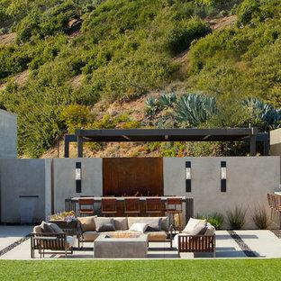 Ispirazione per un ampio patio o portico contemporaneo dietro casa con un focolare, lastre di cemento e un parasole