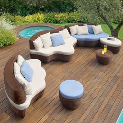 Roberti Les Iles Sectional Sofa - The Roberti Les Iles outdoor sectional wicker sofa has two different shapes of contoured seating sections that nest together. A matching ottoman and casual table are also available.