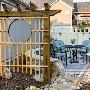 Patio - small craftsman courtyard concrete paver patio idea in Charlotte with no cover