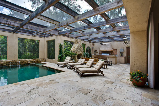 Mediterranean Patio by Travertine Warehouse