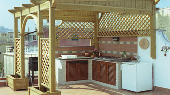 Rooftop Outdoor Kitchen Pergola