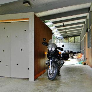 Idée de décoration pour une terrasse vintage avec une extension de toiture.