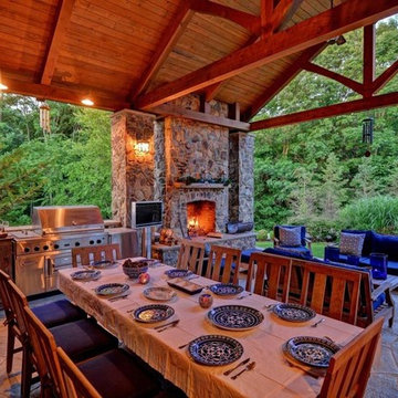 Rustic Outdoor Living Room in Colts Neck