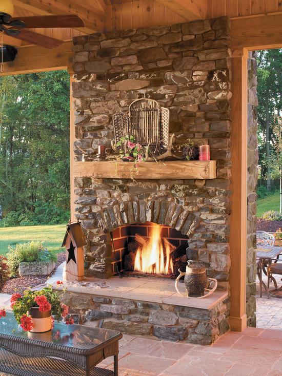 Rustic Stone Fireplace Houzz