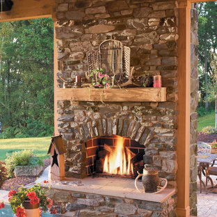 Rustic Stone Outdoor Fireplace