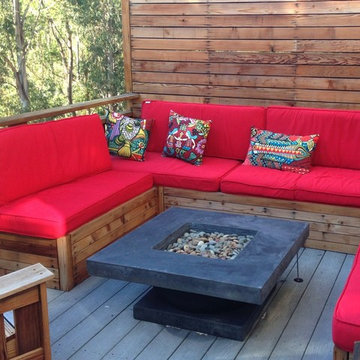 Rustic Wood - Outdoor Firepit Seating with Red Cushions