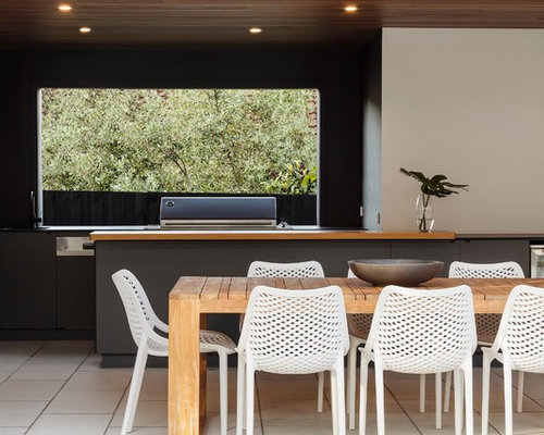 Design Ideas For A Modern Patio In Melbourne With An Outdoor Kitchen, Tile  And A