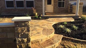 Sandstone outdoor kitchen w/ flagstone patio