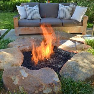 Trendy backyard patio photo in San Luis Obispo with a fire pit