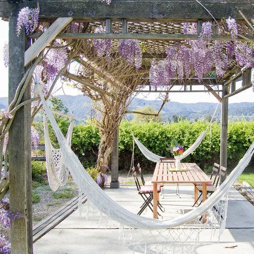inspiration for a farmhouse backyard patio remodel in santa barbara with a pergola backyard hammock   houzz  rh   houzz