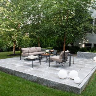 Immagine di un grande patio o portico minimal dietro casa con piastrelle e nessuna copertura
