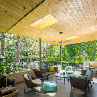 Inspiration for a mid-sized contemporary backyard concrete paver patio remodel in Denver with a roof extension