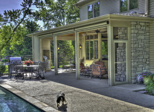 Retractable screen walls houzz for Retractable screen porch systems