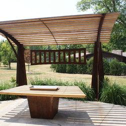 New House Arts - Sculptural Pergola - New patio table to compliment sculptural pergola.