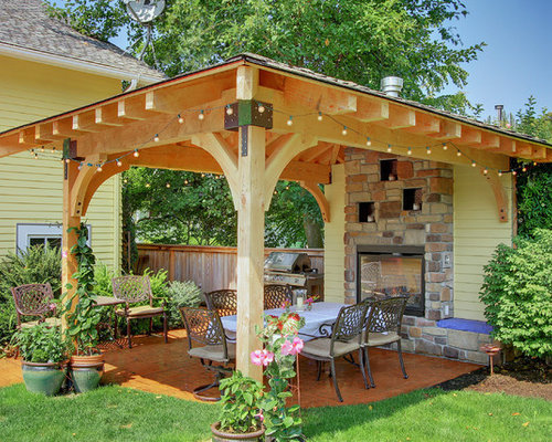 traditional patio idea in seattle with a gazebocabana and a fire feature - Covered Patios Ideas