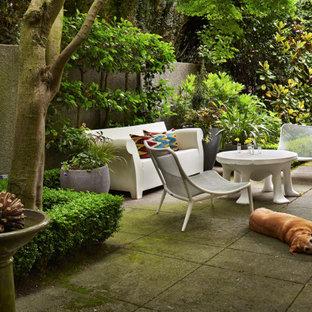 Exemple d'une petite terrasse latérale industrielle avec des pavés en béton.