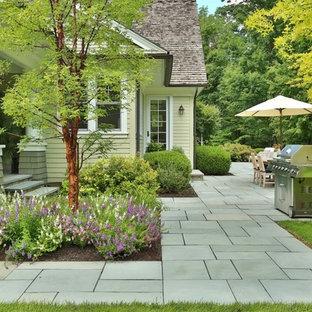 Immagine di un patio o portico classico nel cortile laterale con pavimentazioni in cemento e nessuna copertura