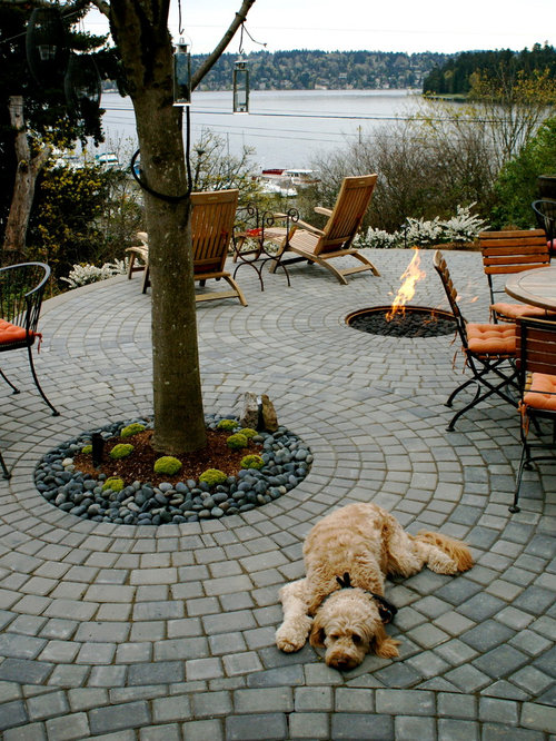 Inspiration For A Small Contemporary Courtyard Concrete Paver Patio Remodel  In Seattle With A Fire Pit
